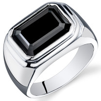 Mens 7.00 Carats Octagon Cut Black Onyx Sterling Silver Ring Sizes 8 To 13 SR10946