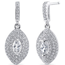 Sterling Silver Marquise White Cubic Zirconia Earrings SE8288