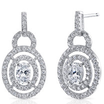 Sterling Silver Oval White Cubic Zirconia Earrings SE8292