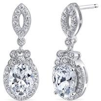 Sterling Silver Oval White Cubic Zirconia Earrings SE8294