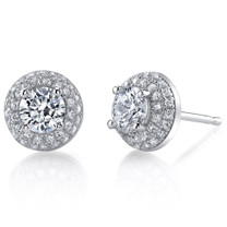 Sterling Silver Round White Cubic Zirconia Stud Earrings SE8298