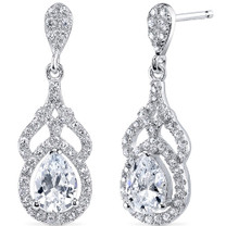 Sterling Silver Pear White Cubic Zirconia Earrings SE8302