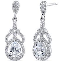 Sterling Silver Pear White Cubic Zirconia Earrings SE8302