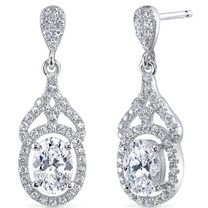Sterling Silver Oval White Cubic Zirconia Earrings SE8314