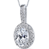 Sterling Silver Oval White Cubic Zirconia Pendant Necklace SP10856