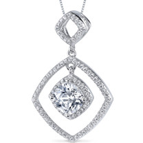 Sterling Silver Cushion White Cubic Zirconia Pendant Necklace SP10862
