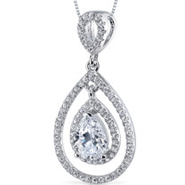 Sterling Silver Pear White Cubic Zirconia Pendant Necklace SP10870