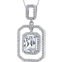 Sterling Silver Radiant White Cubic Zirconia Pendant Necklace SP10872