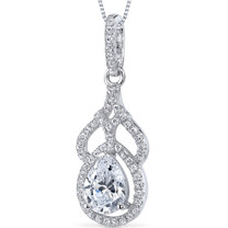 Sterling Silver Pear White Cubic Zirconia Pendant Necklace SP10878