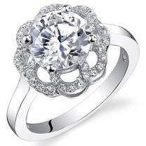 Sterling Silver Round White Cubic Zirconia Ring SR10974