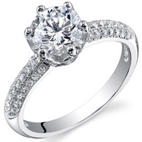 Sterling Silver Round White Cubic Zirconia Ring SR10986