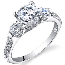 Sterling Silver 3 Stone Round White Cubic Zirconia Ring SR10996