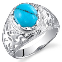 Artisan Style Turquoise Ring Sterling Silver Sizes 8 to 13 SR11020