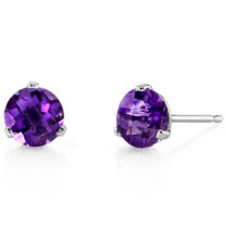 14 Kt White Gold Round Cut 1.50 ct Amethyst Earrings E18444