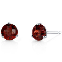 14 Kt White Gold Round Cut 2.25 ct Garnet Earrings E18446