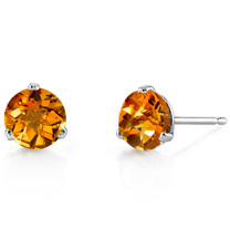 14 Kt White Gold Round Cut 1.50 ct Citrine Earrings E18448