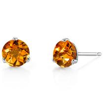14 Kt White Gold Round Cut 1.50 ct Citrine Earrings E18448