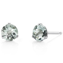 14 Kt White Gold Round Cut 1.50 ct Green Amethyst Earrings E18450