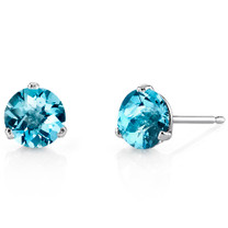 14 Kt White Gold Round Cut 2.00 ct Swiss Blue Topaz Earrings E18454