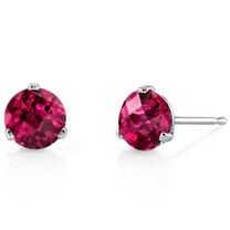 14 Kt White Gold Round Cut 2.25 ct Ruby Earrings E18458