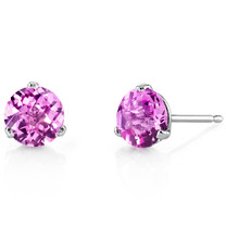 14 Kt White Gold Round Cut 2.25 ct Pink Sapphire Earrings E18462