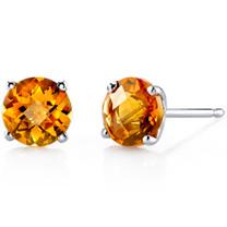 14 kt White Gold Round Cut 1.75 ct Citrine Earrings E18474