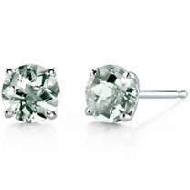 14 kt White Gold Round Cut 1.50 ct Green Amethyst Earrings E18476