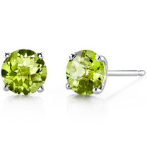 14 kt White Gold Round Cut 1.75 ct Peridot Earrings E18478