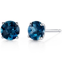 14 kt White Gold Round Cut 2.00 ct London Blue Topaz Earrings E18482