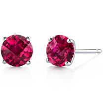 14 kt White Gold Round Cut 2.25 ct Ruby Earrings E18484