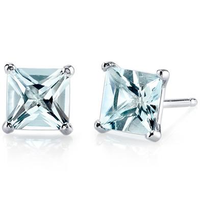14 kt White Gold Princess Cut 1.75 ct Aquamarine Earrings E18494