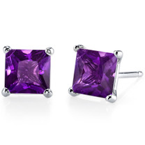 14 kt White Gold Princess Cut 2.00 ct Amethyst Earrings E18496