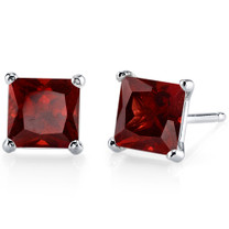 14 kt White Gold Princess Cut 2.75 ct Garnet Earrings E18498