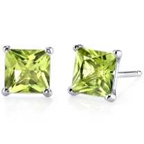 14 kt White Gold Princess Cut 2.00 ct Peridot Earrings E18504