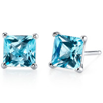 14 kt White Gold Princess Cut 2.50 ct Swiss Blue Topaz Earrings E18506