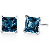 14kt White Gold Princess Cut 2.50 ct London Blue Topaz Earrings E18508