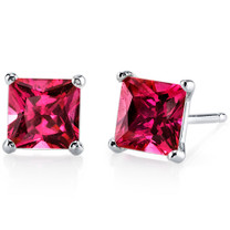 14 kt White Gold Princess Cut 3.00 ct Ruby Earrings E18510