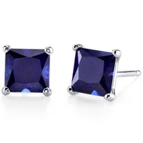14 kt White Gold Princess Cut 2.75 ct Blue Sapphire Earrings E18512
