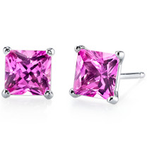 14 kt White Gold Princess Cut 3.00 ct Pink Sapphire Earrings E18514