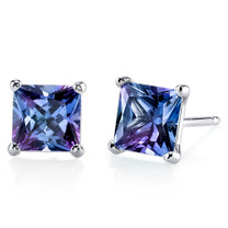 14 kt White Gold Princess Cut 3.00 ct Alexandrite Earrings E18516