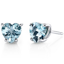 14 kt White Gold Heart Shape 1.50 ct Aquamarine Earrings E18520