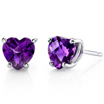 14 kt White Gold Heart Shape 1.50 ct Amethyst Earrings E18522