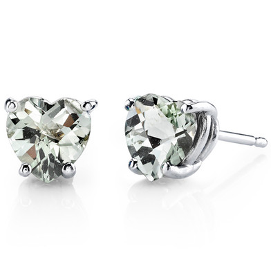 14 kt White Gold Heart Shape 1.50 ct Green Amethyst Earrings E18528