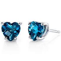 14 kt White Gold Heart Shape 2.00 ct London Blue Topaz Earrings E18534