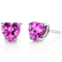 14 kt White Gold Heart Shape 2.25 ct Pink Sapphire Earrings E18540
