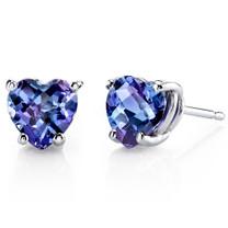 14 kt White Gold Heart Shape 2.50 ct Alexandrite Earrings E18542