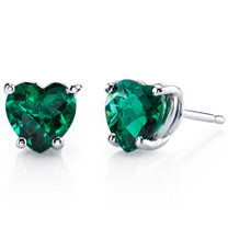 14 kt White Gold Heart Shape 1.50 ct Emerald Earrings E18544
