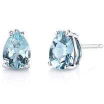 14 kt White Gold Pear Shape 1.00 ct Aquamarine Earrings E18546