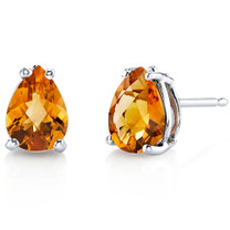 14 kt White Gold Pear Shape 1.25 ct Citrine Earrings E18552