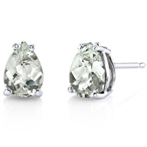 14 kt White Gold Pear Shape 1.50 ct Green Amethyst Earrings E18554